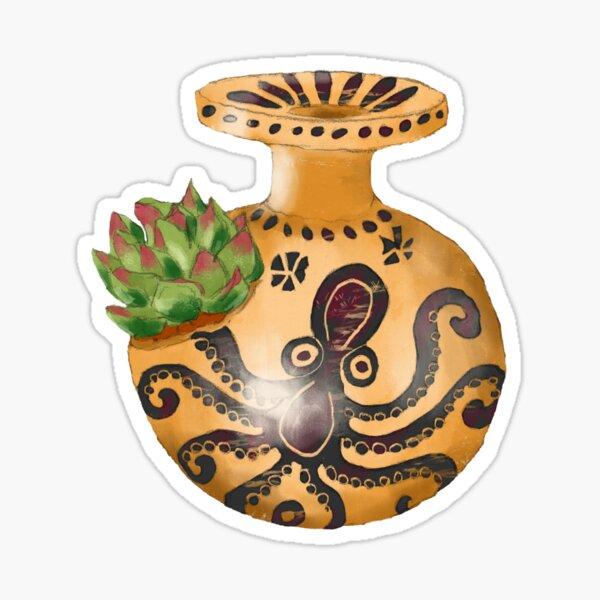 Ein griechisches Ölgefäß (Aryballos) mit einem Oktopus und Sukkulenten  Sticker