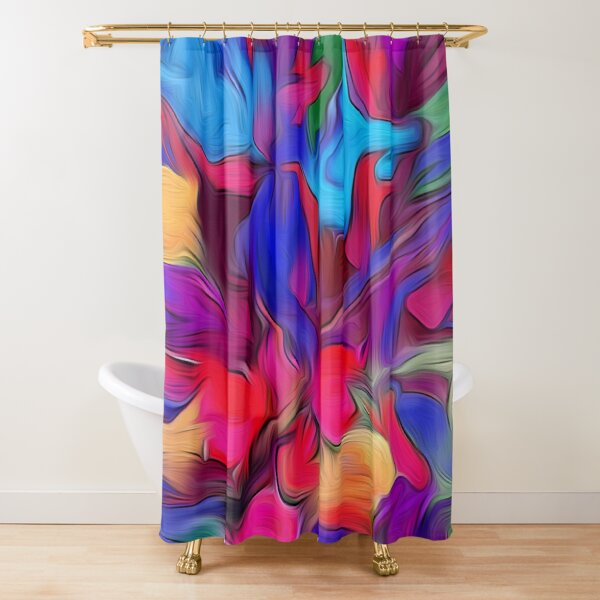 Deep Blue and Scarlet Red Abstract Floral  Shower Curtain
