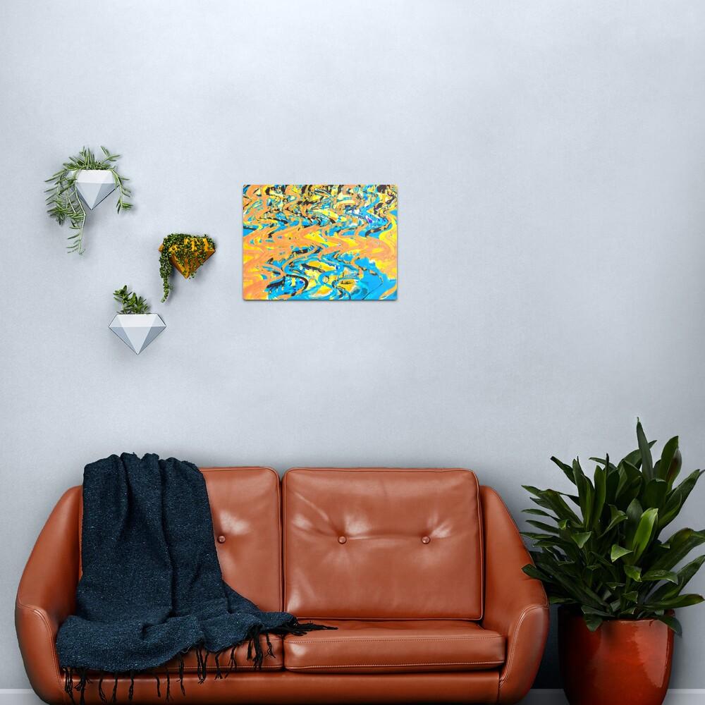 Abstract Pop Art Decor - Poptastic 2 - Neon Orange, Yellow and Blue Swirls Metal Print