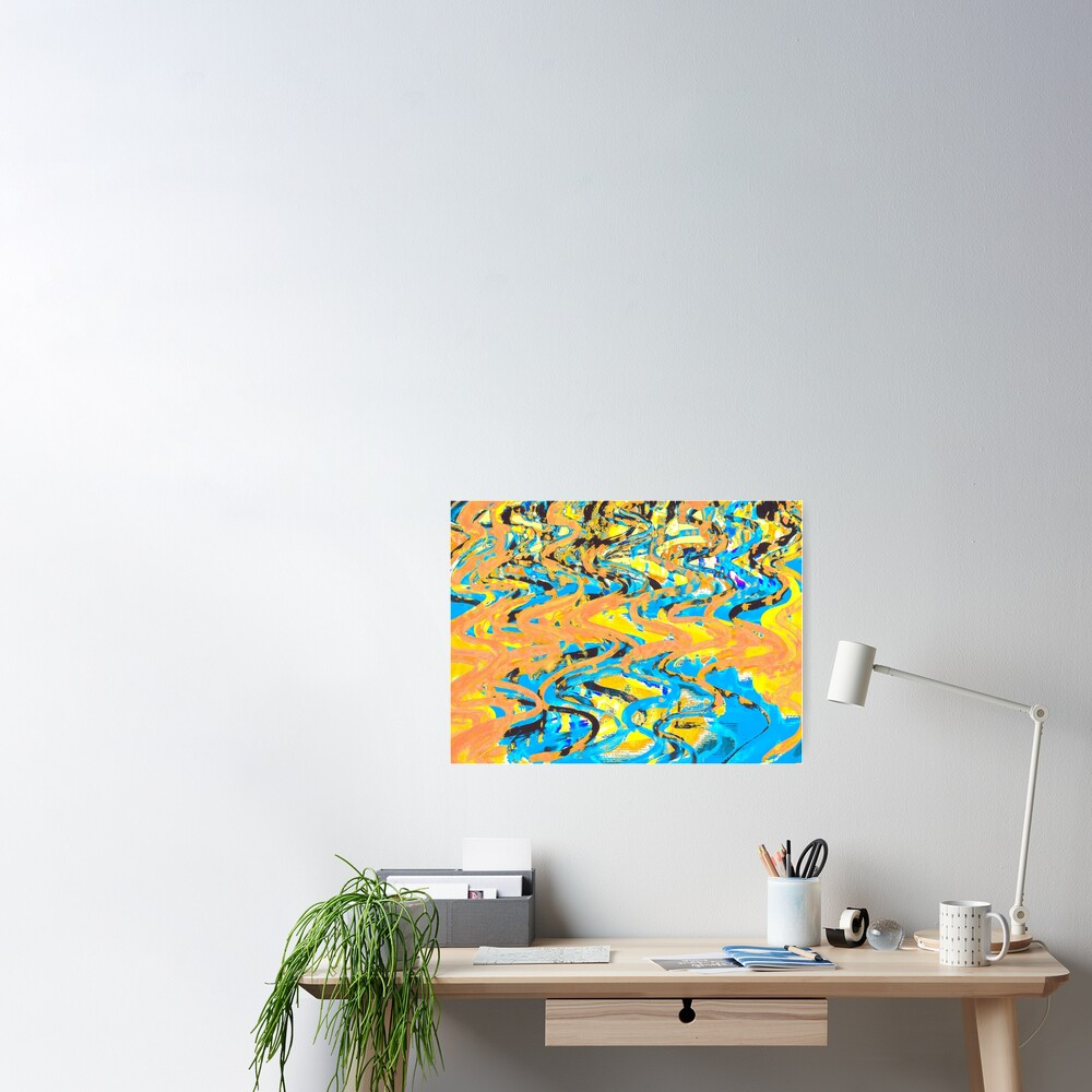 Abstract Pop Art Decor - Poptastic 2 - Neon Orange, Yellow and Blue Swirls Poster