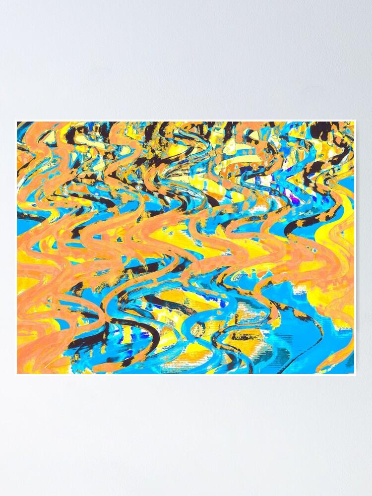 Alternate view of Abstract Pop Art Decor - Poptastic 2 - Neon Orange, Yellow and Blue Swirls Poster