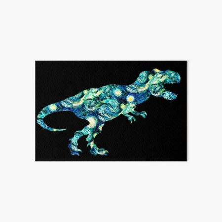 Starry Night T-Rex Dinosaur Silhouette  Art Board Print