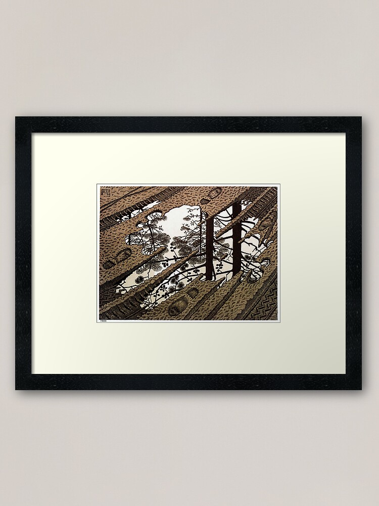 Alternate view of Escher - Puddle Framed Art Print