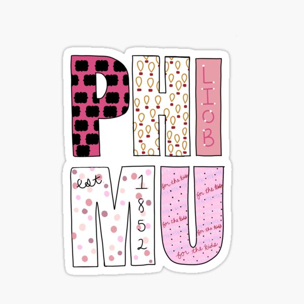 Phi Mu Letters Sticker
