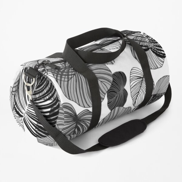 Monochrome Botanical Floral Leaves Duffle Bag
