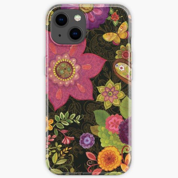 Bohemian flowers on black by Sue Zipkin  iPhone Soft Case