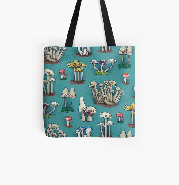 Mushies in Mushville All Over Print Tote Bag