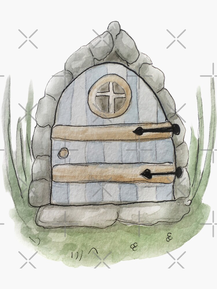 Whimsical Fairy Door Illustration in Watercolor by WitchofWhimsy