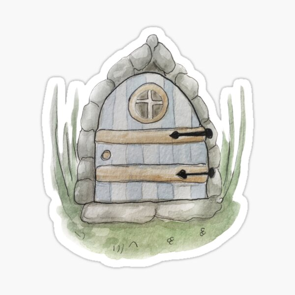 Whimsical Fairy Door Illustration in Watercolor Sticker