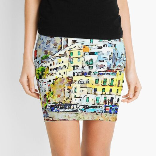 View of the village perched of Amalfi with yellow building and house Mini Skirt