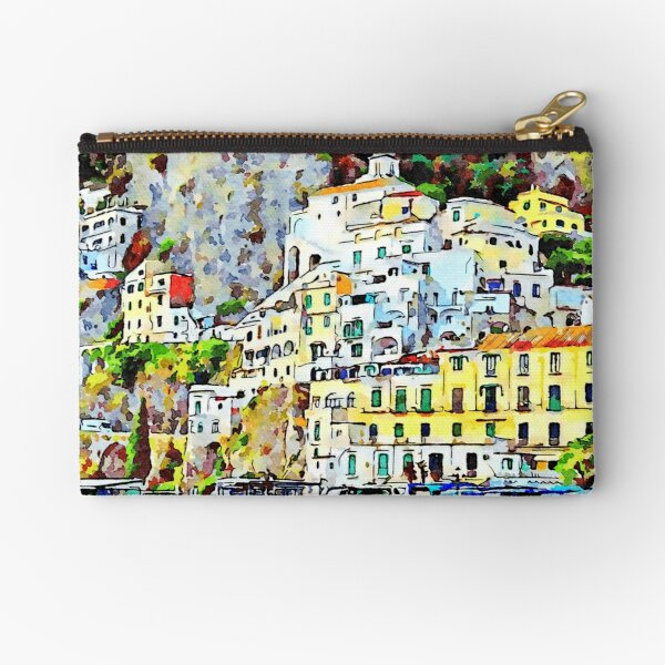 View of the village perched of Amalfi with yellow building and house Zipper Pouch