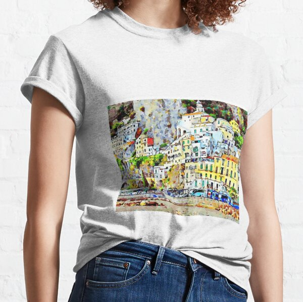 View of the village perched of Amalfi with yellow building and house Classic T-Shirt