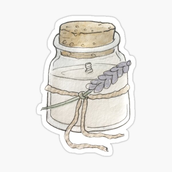 Fairy Candle in a Corked Jar Illustration in Watercolor Sticker