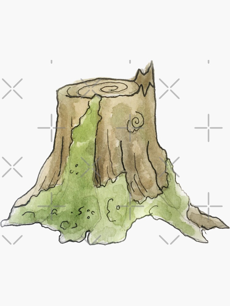 Mossy Tree Stump Illustration in Watercolor by WitchofWhimsy