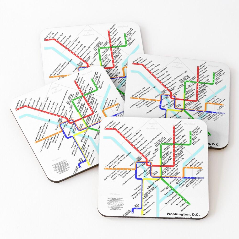 Washington DC Metro Subway Map Coasters (Set of 4)