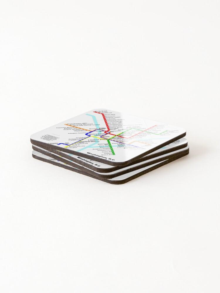 Alternate view of Washington DC Metro Subway Map Coasters (Set of 4)