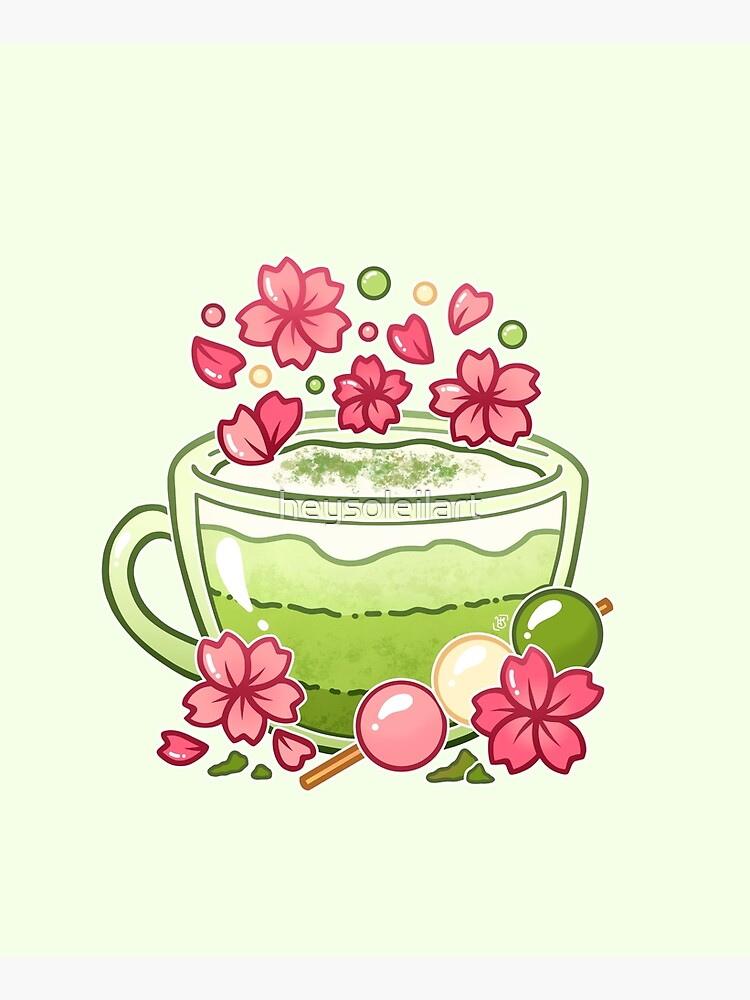 Sakura Matcha Tea by heysoleilart