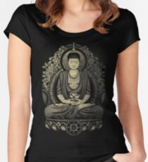 Gautama Buddha Yellow Halftone Textured Women's Fitted Scoop T-Shirt
