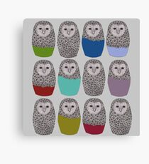 Bright Line Up of Owls Canvas Print
