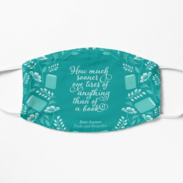 Jane Austen Pride and Prejudice Teal Floral Bookish Quote Mask