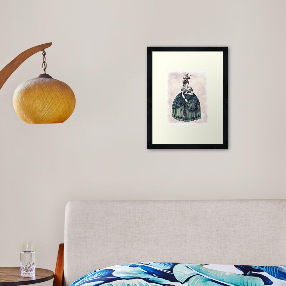 Viscountess Garvestone - Regency Fashion Illustration Framed Art Print