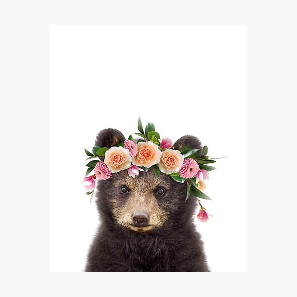 Baby Bear With Flower Crown, Baby Animals Art Print by Synplus Photographic Print