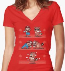 Tanooki Fusion Women's Fitted V-Neck T-Shirt