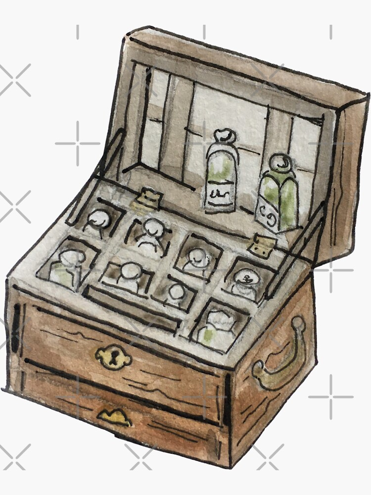 Antique Apothecary Kit Illustration in Watercolor by WitchofWhimsy