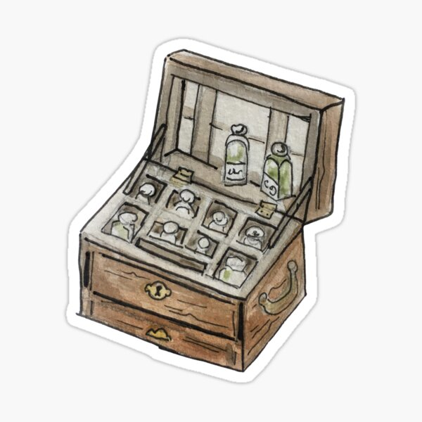 Antique Apothecary Kit Illustration in Watercolor Sticker