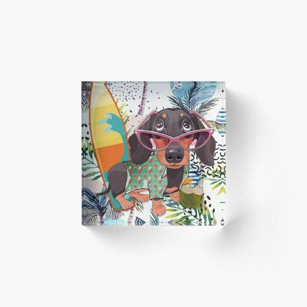 Dachshund Dog popart art Acrylic Block