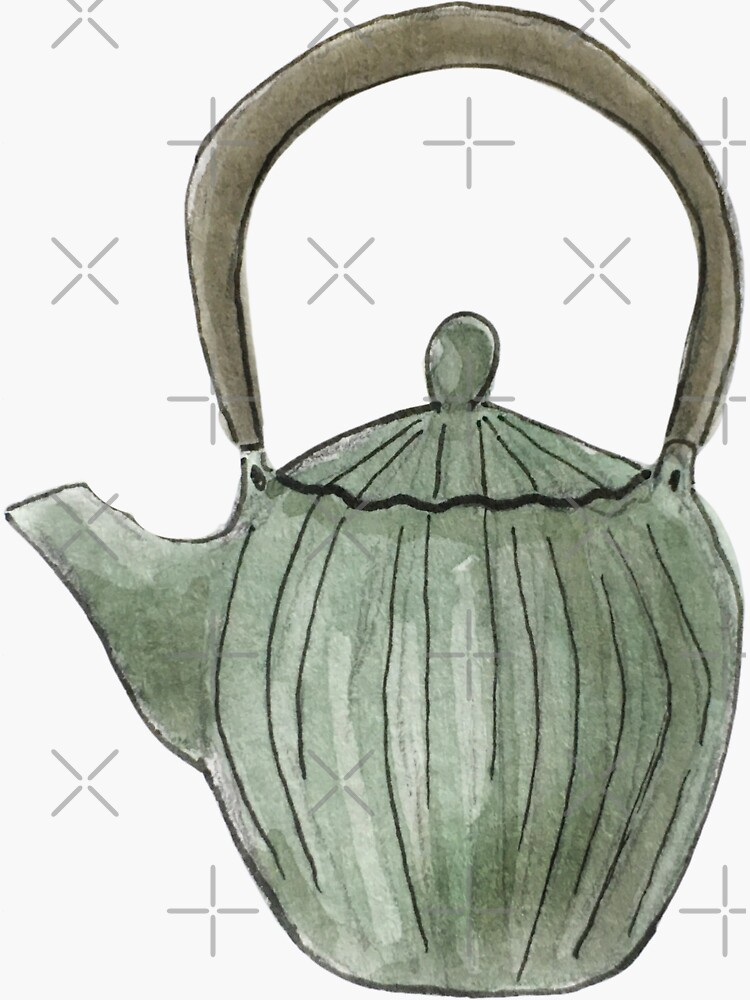 Vintage Green Teapot Illustration in Watercolor by WitchofWhimsy