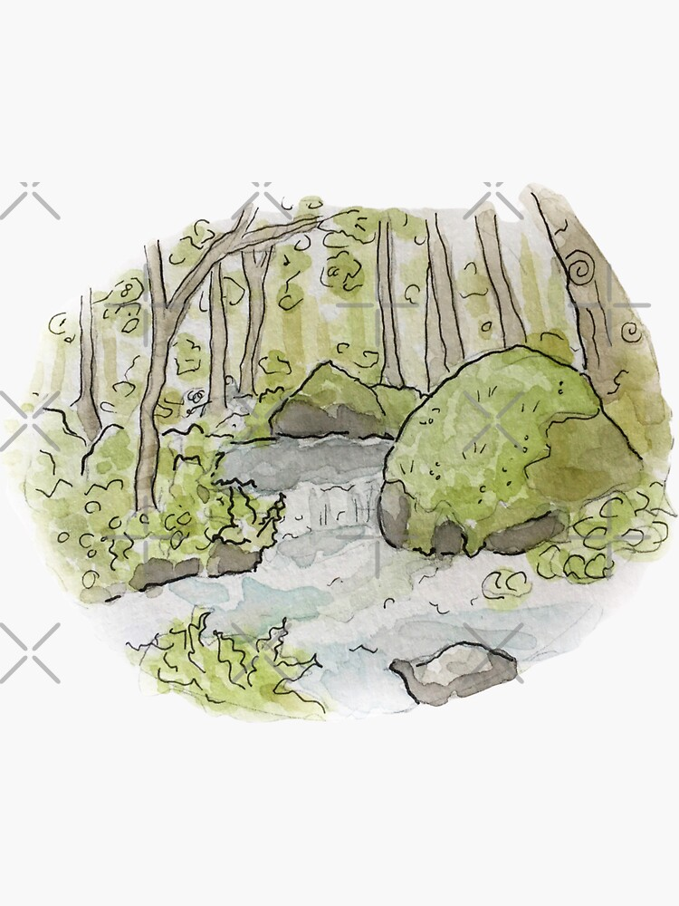 Whimsical Stream in the Woods Illustration in Watercolor by WitchofWhimsy