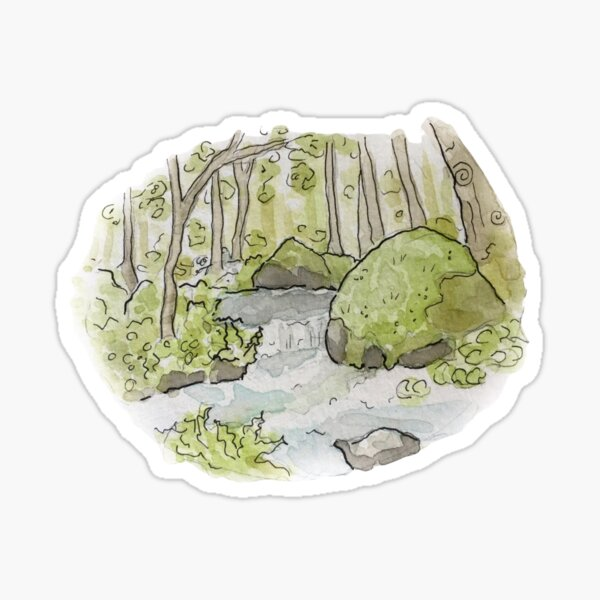 Whimsical Stream in the Woods Illustration in Watercolor Sticker