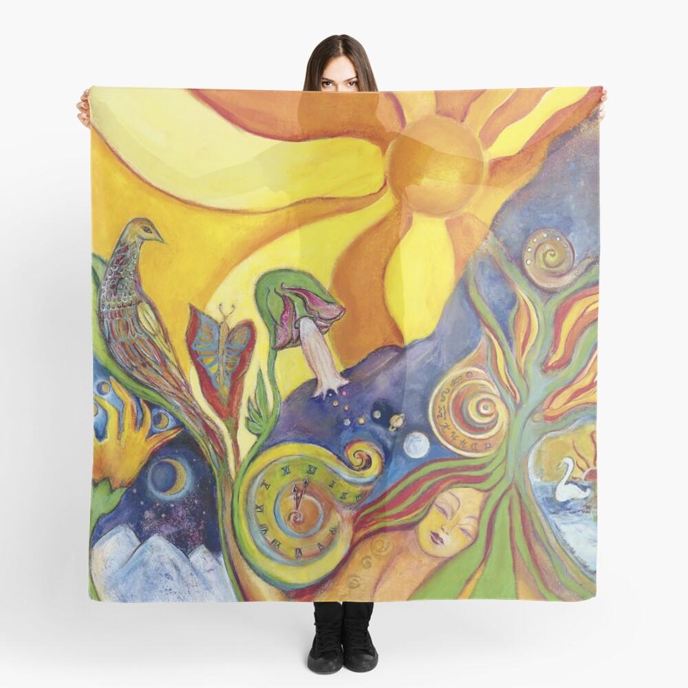 Sunshine Dream Colorful Psychedelic Hippie Folk Art Scarf