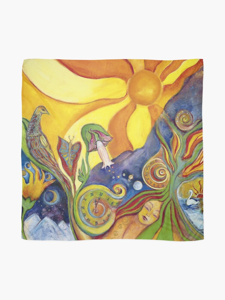 Alternate view of Sunshine Dream Colorful Psychedelic Hippie Folk Art Scarf