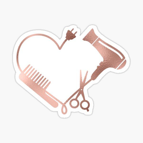 Rose gold Heart Love Hair Stylist Salon Sticker