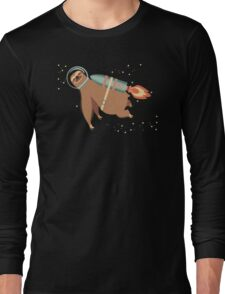 Happy sloth spaceman rocket jet pack Long Sleeve T-Shirt