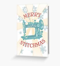 vintage sewing machine Christmas holiday card & sticker Greeting Card