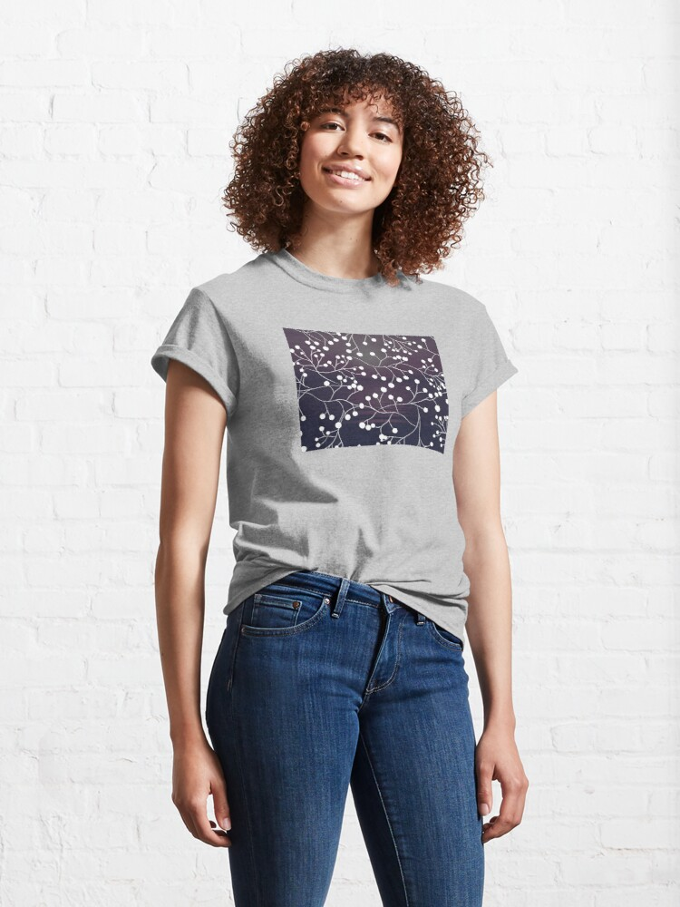 Alternate view of Purple sunset and floral pattern Classic T-Shirt