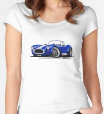 AC / Shelby Cobra Blue (White Stripes) Women's Fitted Scoop T-Shirt