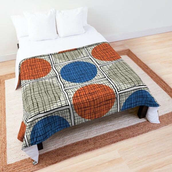 Mid-Mod Circle Grid - Scarle /Blue/Sand Comforter