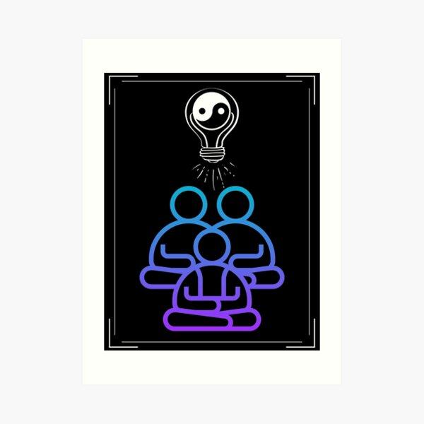 Seek Balance/Peaceful Community Meditating/YinYang Lightbulb  Art Print