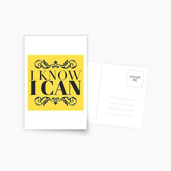 Inspirational Gift - I Know I Can - Motivational Present - Yellow Postcard