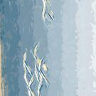 Trumpeter Swans in Flight Abstract Impressionism by pjwuebker