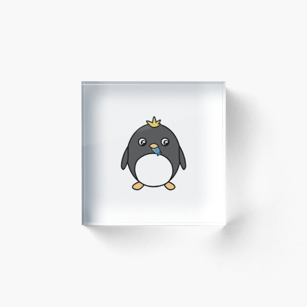 Cute Penguin with Yellow Hair Eating a Fish Acrylic Block