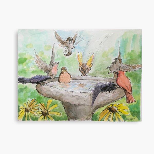 Fairy Cannonballing the Birdbath Canvas Print