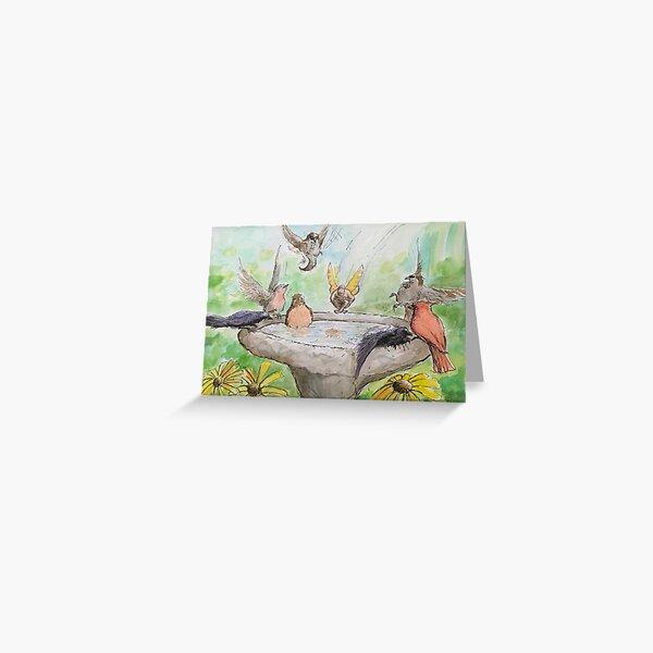 Fairy Cannonballing the Birdbath Greeting Card