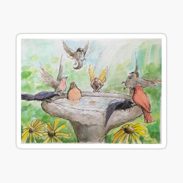 Fairy Cannonballing the Birdbath Sticker
