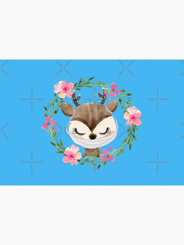 Cute Baby Deer with Face Mask and Flowers by mexicandoo