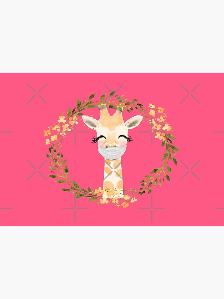 Cute Baby Giraffe with Face Mask and Flowers by mexicandoo